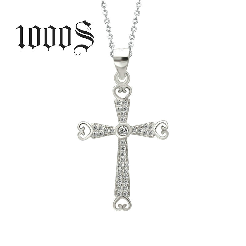 S925 Sterling Silver Pendant inlaid micro cross pendant wholesale