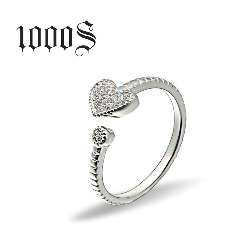 Joint ring S925 Sterling Silver heart-shaped opening ring wholesale