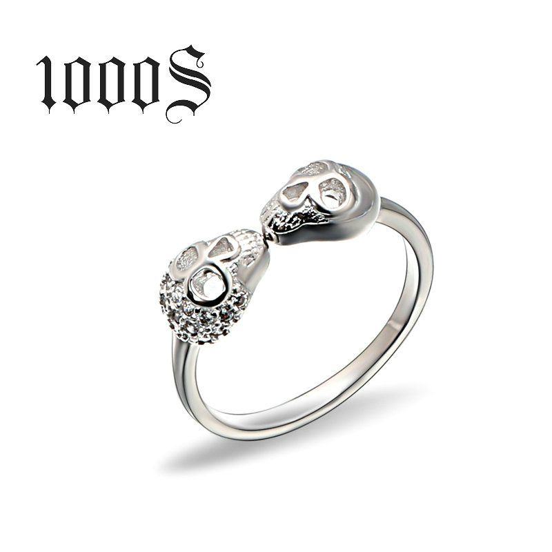Direct manufacturers S925 sterling silver ring opening skull ring joint ring wholesale